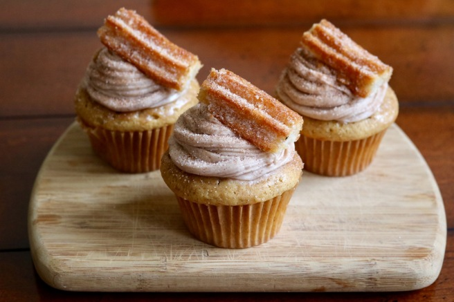 three-churro-cupcakes