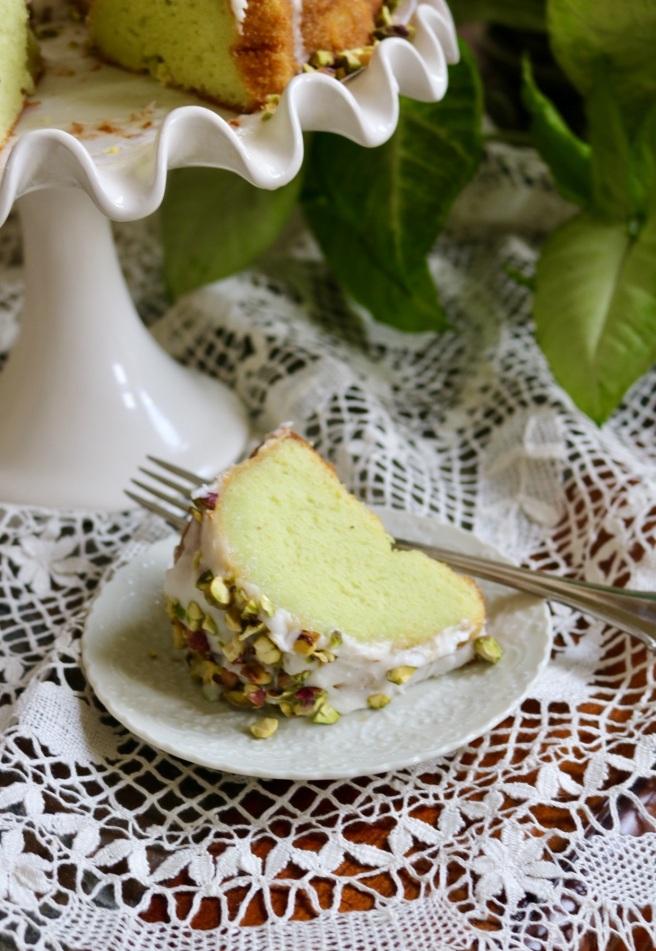 Pistachio Rum Cake Slice